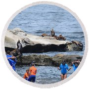 Junior Lifeguards And Sea Lions Round Beach Towel