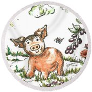 Junior Pig Round Beach Towel