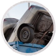 Junk Cars In Dumpster Cash For Clunkers Round Beach Towel