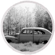 Junked Ford Car Round Beach Towel