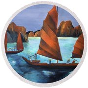 Junks In The Descending Dragon Bay Round Beach Towel