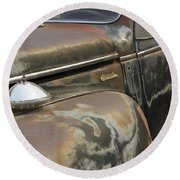 Junkyard Series Old Plymouth Round Beach Towel
