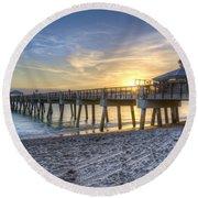 Juno Beach Pier At Dawn Round Beach Towel