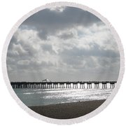 Juno Beach Pier Round Beach Towel