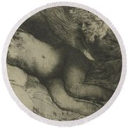 Jupiter And Antiope Round Beach Towel