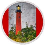 Jupiter Lighthouse Round Beach Towel by Debra and Dave Vanderlaan