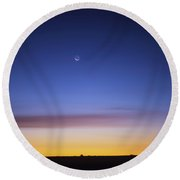 Jupiter, Mercury And The Moon Round Beach Towel