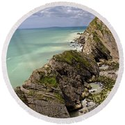 Jurassic Coast From Lulworth Cove Round Beach Towel