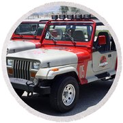 Jurassic Park Jeeps Round Beach Towel