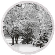 Just After A Snowfall Round Beach Towel by Mary Machare