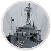 Just Another Battleship Photo Of The Uss Joseph P Kennedy Jr  Round Beach Towel