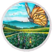 Just Another Monarch Monday Round Beach Towel