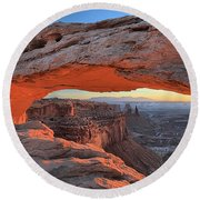 Just Before Sunrise At Canyonlands Round Beach Towel