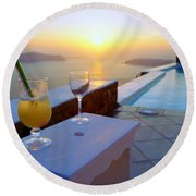 Just Before Sunset In Santorini Round Beach Towel