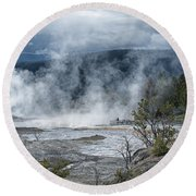 Just Before The Storm - Mammoth Hot Springs Round Beach Towel