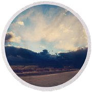 Just Down The Road Round Beach Towel by Laurie Search