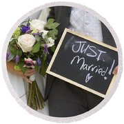 Just Married Round Beach Towel