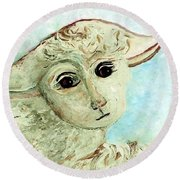 Just One Little Lamb Round Beach Towel