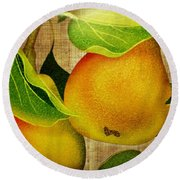 Just Pears Round Beach Towel