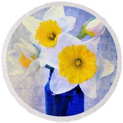 Just Plain Daffy 2 In Blue - Flora - Spring - Daffodil - Narcissus - Jonquil  Round Beach Towel