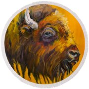 Just Sayin Bison Round Beach Towel