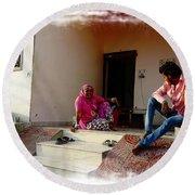 Just Sitting 3 - Family Portrait - Indian Village Rajasthani Round Beach Towel
