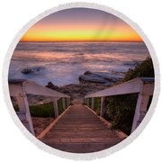 Just Steps To The Sea Round Beach Towel