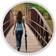 Just Walk Away Renee Round Beach Towel