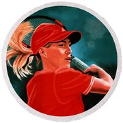Justine Henin  Round Beach Towel by Paul Meijering