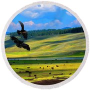Juvenile Eagles Play Fight Round Beach Towel