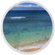 Kaanapali Ocean Aerial Round Beach Towel
