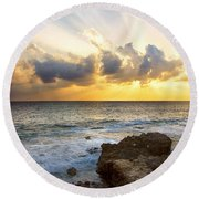 Kaena Point State Park Sunset 2 - Oahu Hawaii Round Beach Towel by Brian Harig