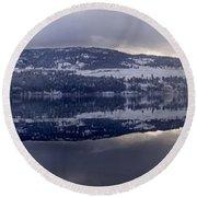 Sunset Kalamalka Lake - British Columbia Round Beach Towel