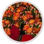 Kalanchoe Plant With Butterfly Round Beach Towel