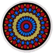 Kaleidoscope Of Colorful Embroidery Round Beach Towel