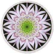 Kaleidoscope Pink Daisy Round Beach Towel