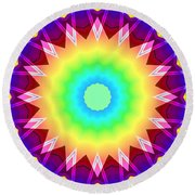 Kaleidoscope Rainbow Round Beach Towel