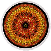 Kaleidoscope Stained Glass Window Series Round Beach Towel