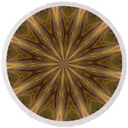 Kaleidoscope With Gold Round Beach Towel