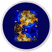 Kaleidoscopic Blues Fdl  Round Beach Towel