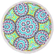 Kaleidoscopic Whimsy Round Beach Towel