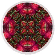 Kaleidscope Made From Image Of Coleus Plant Round Beach Towel