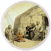 Kalmuks With A Prayer Wheel, Siberia Round Beach Towel