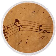 Kamasutra Abstract Music 2 Coffee Painting Round Beach Towel