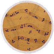 Kamasutra Music Coffee Painting Round Beach Towel