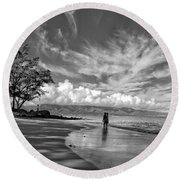 Kanahna Beach Maui Hawaii Panoramic Round Beach Towel