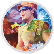 Kang At Hornings Hideout Round Beach Towel