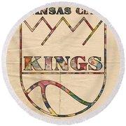 Kansas City Kings Retro Poster Round Beach Towel