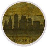 Kansas City Missouri City Skyline Silhouette Distressed On Worn Peeling Wood Round Beach Towel