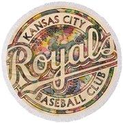 Kansas City Royals Logo Vintage Round Beach Towel